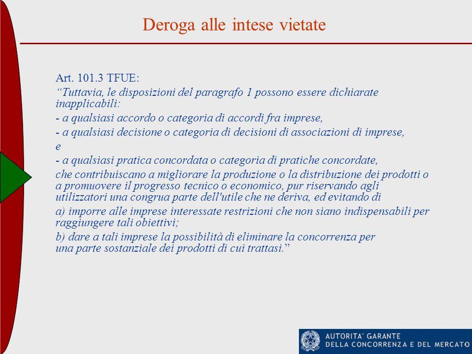 Deroga alle intese vietate Art. 101.3 TFUE: Tuttavia, le disposizioni del paragrafo 1 possono essere dichiarate inapplicabili: - a qualsiasi accordo o
