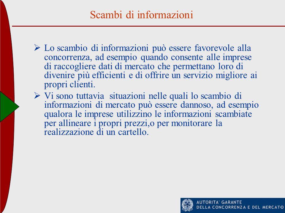 Scambi di informazioni Lo scambio di informazioni può essere favorevole alla concorrenza, ad esempio quando consente alle imprese di raccogliere dati