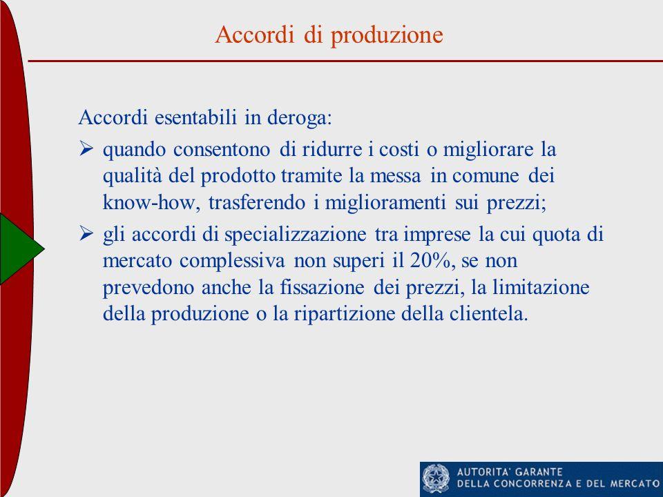 Accordi di produzione Accordi esentabili in deroga: quando consentono di ridurre i costi o migliorare la qualità del prodotto tramite la messa in comu