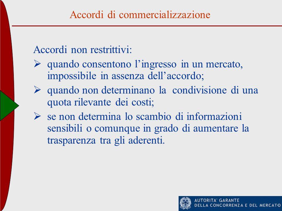 Accordi di commercializzazione Accordi non restrittivi: quando consentono lingresso in un mercato, impossibile in assenza dellaccordo; quando non dete