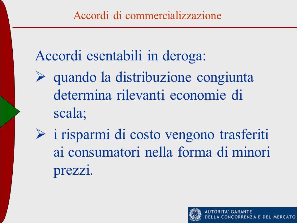 Accordi di commercializzazione Accordi esentabili in deroga: quando la distribuzione congiunta determina rilevanti economie di scala; i risparmi di co