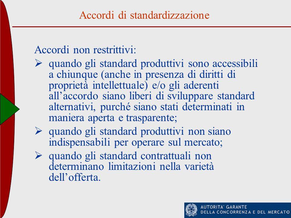 Accordi di standardizzazione Accordi non restrittivi: quando gli standard produttivi sono accessibili a chiunque (anche in presenza di diritti di prop