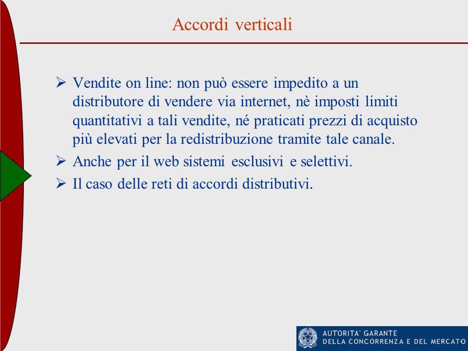 Accordi verticali Vendite on line: non può essere impedito a un distributore di vendere via internet, nè imposti limiti quantitativi a tali vendite, n
