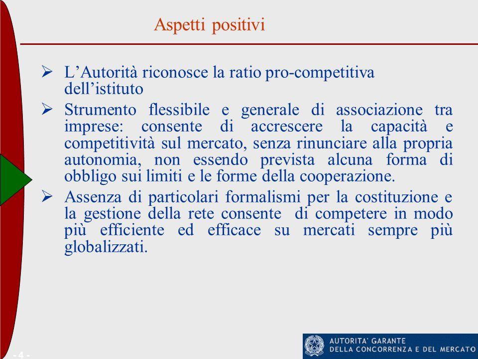 - 4 - LAutorità riconosce la ratio pro-competitiva dellistituto Strumento flessibile e generale di associazione tra imprese: consente di accrescere la