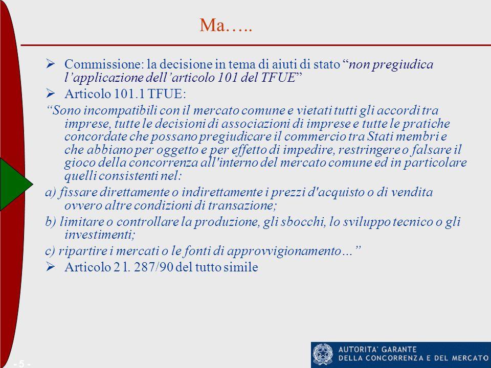 - 5 - Commissione: la decisione in tema di aiuti di stato non pregiudica lapplicazione dellarticolo 101 del TFUE Articolo 101.1 TFUE: Sono incompatibi