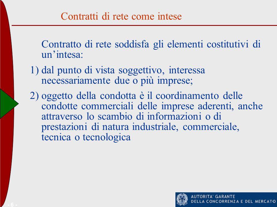 - 6 - Contratto di rete soddisfa gli elementi costitutivi di unintesa: 1)dal punto di vista soggettivo, interessa necessariamente due o più imprese; 2