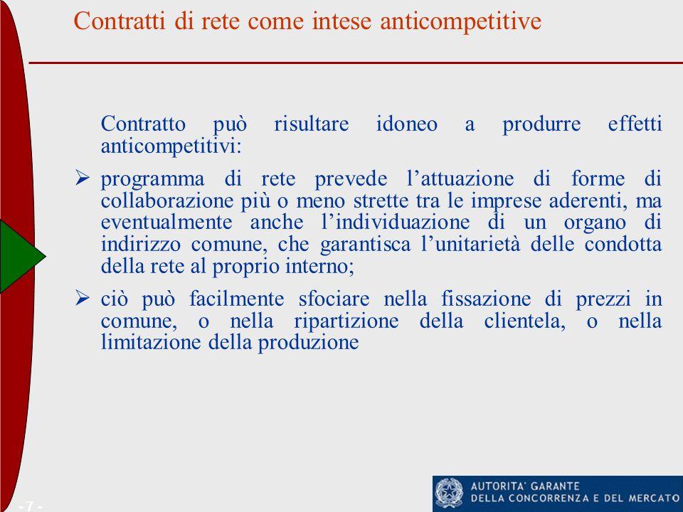 Contratti di rete come intese anticompetitive - 7 - Contratto può risultare idoneo a produrre effetti anticompetitivi: programma di rete prevede lattu