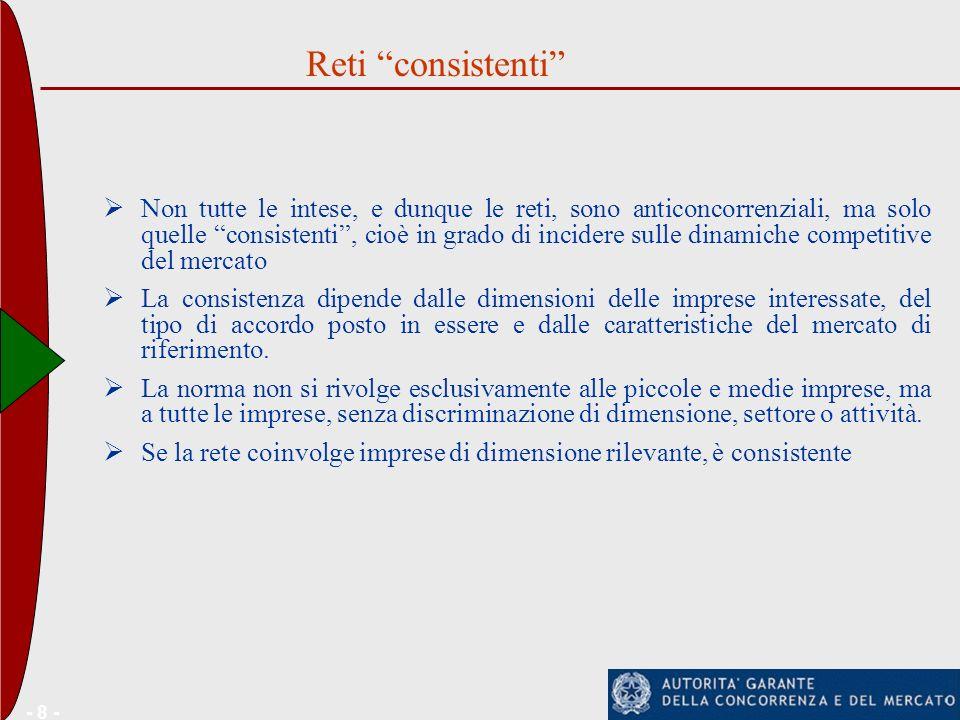 - 8 - Non tutte le intese, e dunque le reti, sono anticoncorrenziali, ma solo quelle consistenti, cioè in grado di incidere sulle dinamiche competitiv