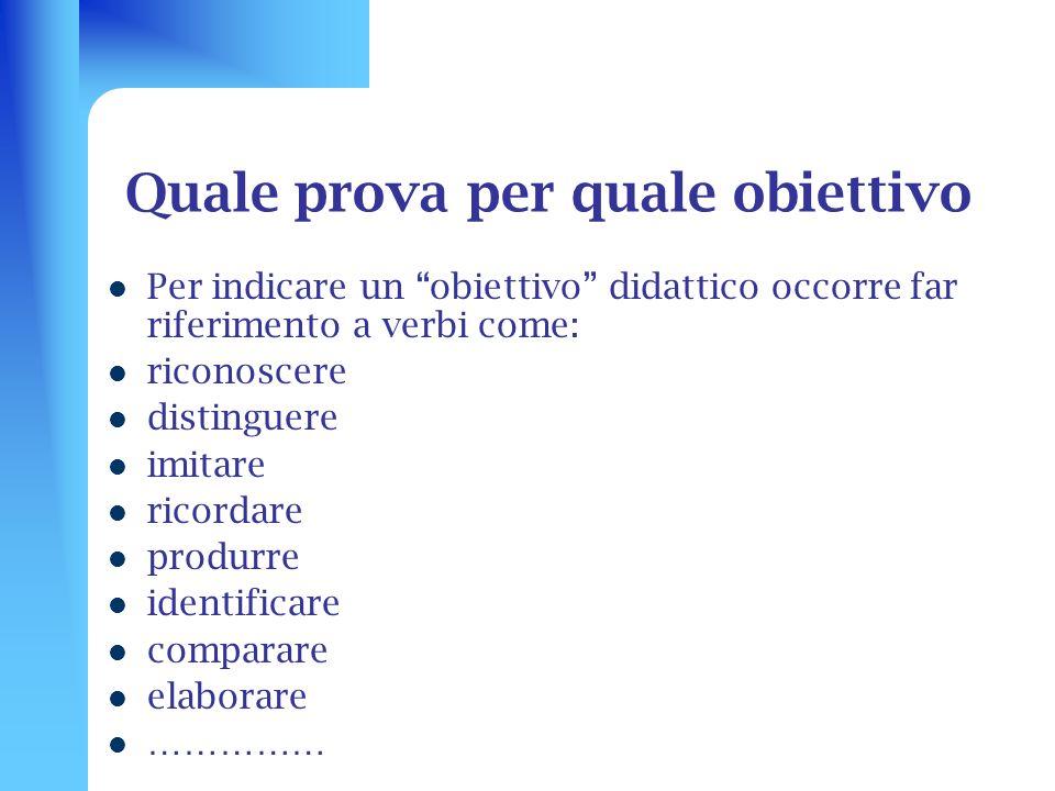 Quale prova per quale obiettivo Per indicare un obiettivo didattico occorre far riferimento a verbi come: riconoscere distinguere imitare ricordare pr