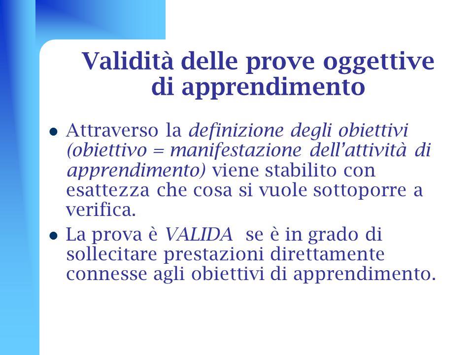 Validità delle prove oggettive di apprendimento Attraverso la definizione degli obiettivi (obiettivo = manifestazione dellattività di apprendimento) v