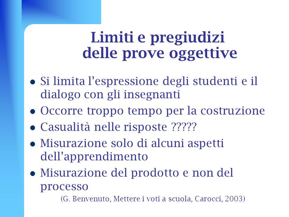 Limiti e pregiudizi delle prove oggettive Si limita lespressione degli studenti e il dialogo con gli insegnanti Occorre troppo tempo per la costruzion