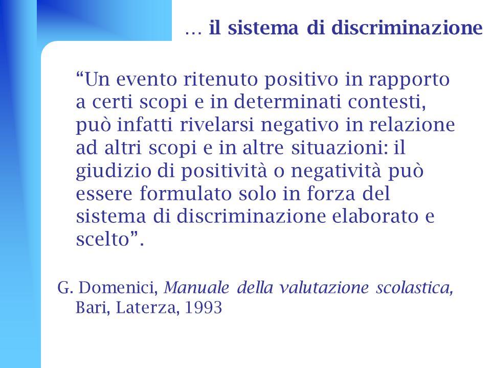 … il sistema di discriminazione Un evento ritenuto positivo in rapporto a certi scopi e in determinati contesti, può infatti rivelarsi negativo in rel