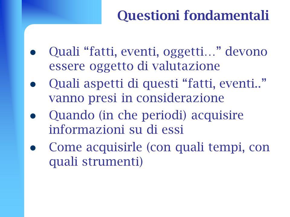 Questioni fondamentali Quali fatti, eventi, oggetti… devono essere oggetto di valutazione Quali aspetti di questi fatti, eventi.. vanno presi in consi