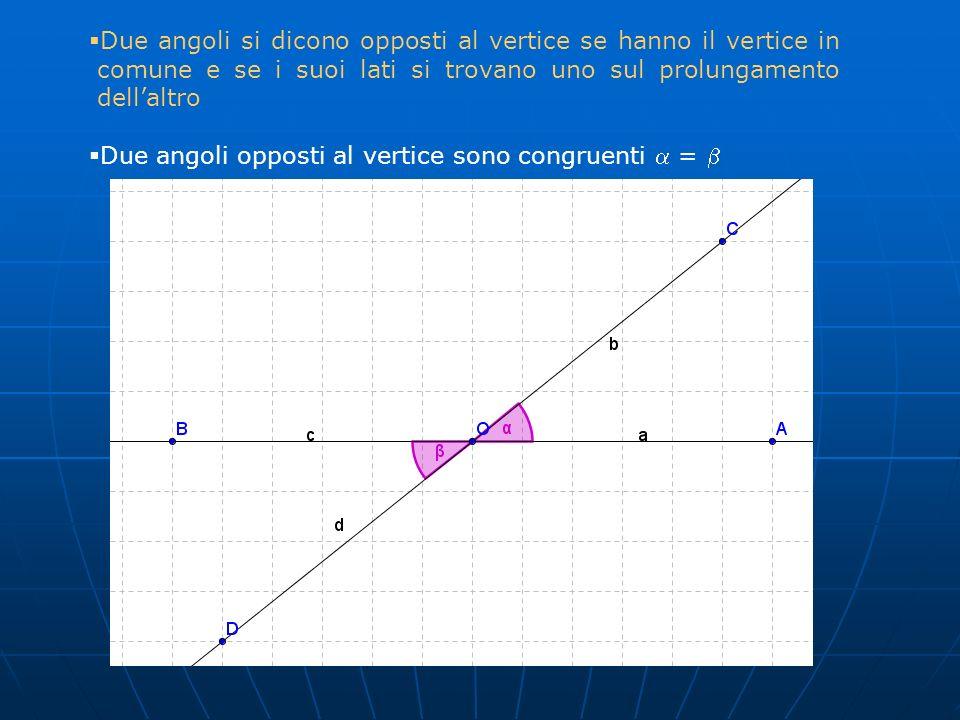Due angoli si dicono opposti al vertice se hanno il vertice in comune e se i suoi lati si trovano uno sul prolungamento dellaltro Due angoli opposti a