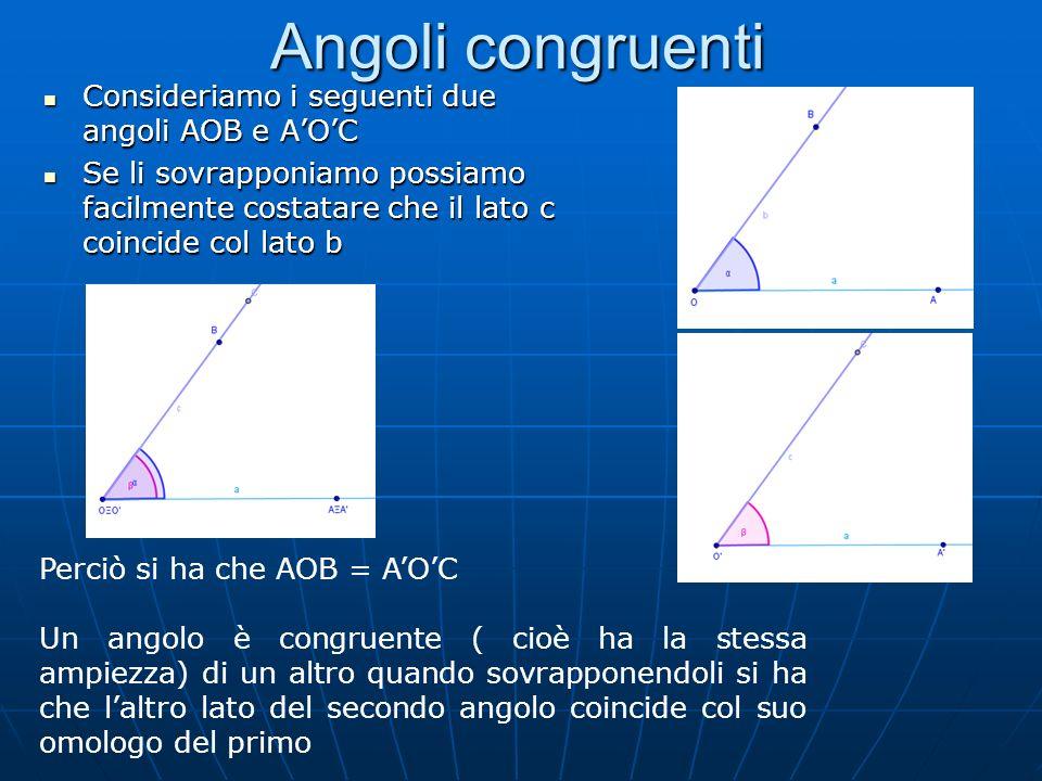 Angoli congruenti Consideriamo i seguenti due angoli AOB e AOC Consideriamo i seguenti due angoli AOB e AOC Se li sovrapponiamo possiamo facilmente co