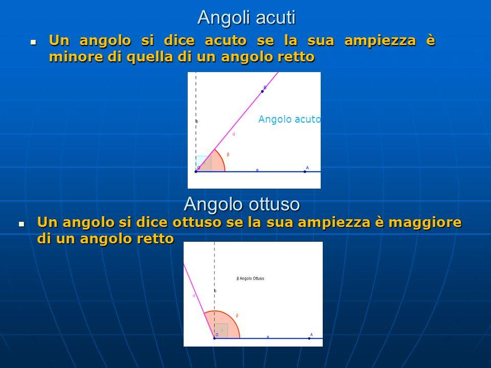 Angoli acuti Un angolo si dice acuto se la sua ampiezza è minore di quella di un angolo retto Un angolo si dice acuto se la sua ampiezza è minore di q