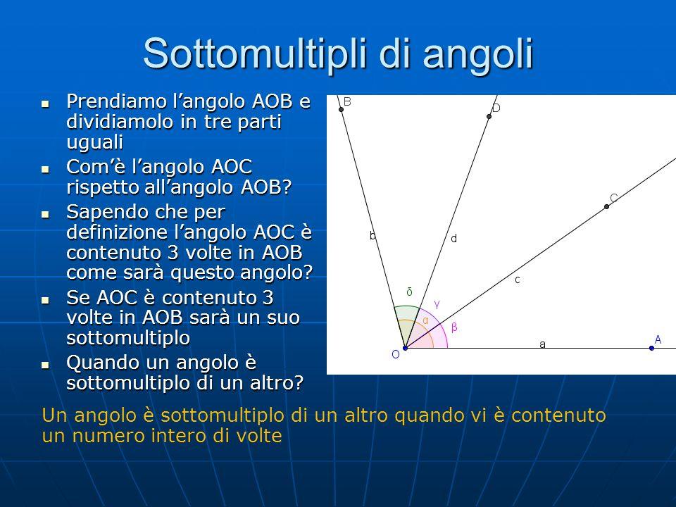 Sottomultipli di angoli Prendiamo langolo AOB e dividiamolo in tre parti uguali Prendiamo langolo AOB e dividiamolo in tre parti uguali Comè langolo A