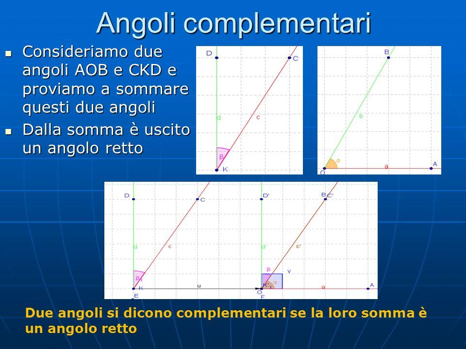 Angoli complementari Consideriamo due angoli AOB e CKD e proviamo a sommare questi due angoli Consideriamo due angoli AOB e CKD e proviamo a sommare q