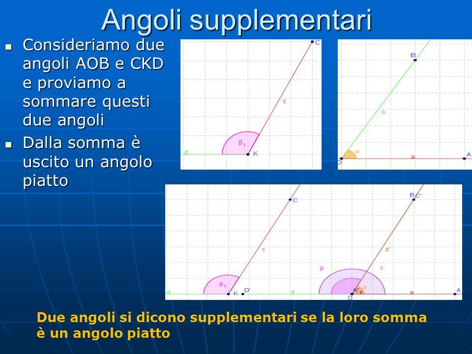 Angoli supplementari Consideriamo due angoli AOB e CKD e proviamo a sommare questi due angoli Consideriamo due angoli AOB e CKD e proviamo a sommare q