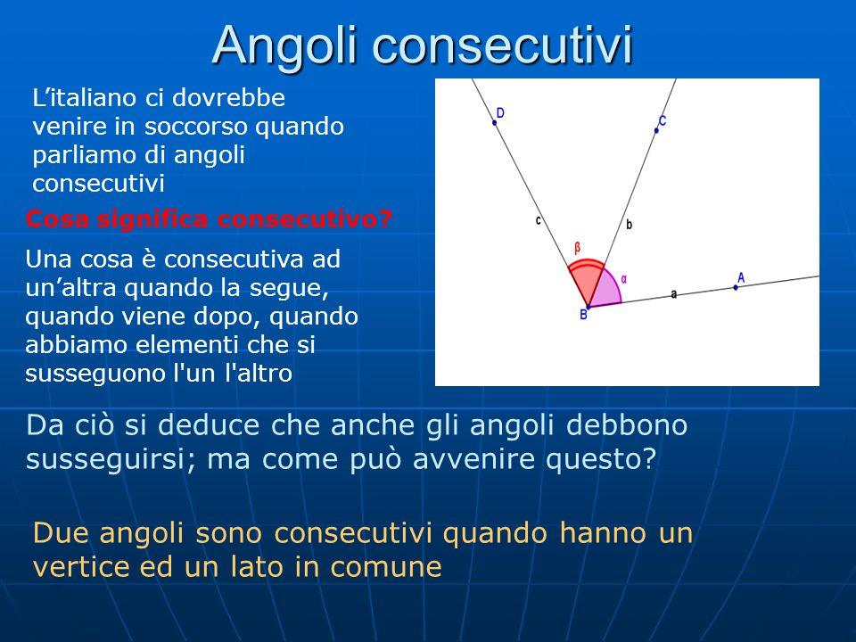 Angoli consecutivi Litaliano ci dovrebbe venire in soccorso quando parliamo di angoli consecutivi Cosa significa consecutivo? Una cosa è consecutiva a