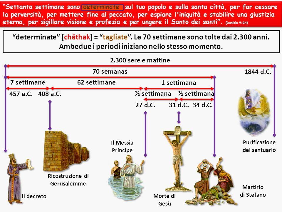 2.300 sere e mattine 70 semanas 7 settimane62 settimane 1 settimana ½ settimana Il decreto Ricostruzione di Gerusalemme Il Messia Principe Morte di Ge