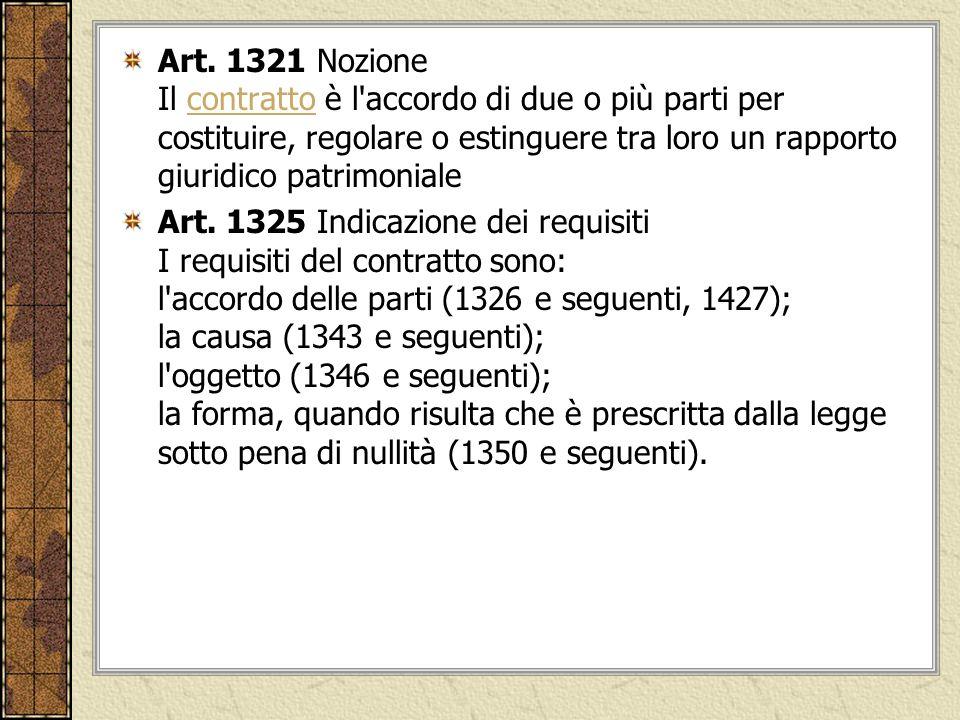 Art. 1321 Nozione Il contratto è l'accordo di due o più parti per costituire, regolare o estinguere tra loro un rapporto giuridico patrimonialecontrat