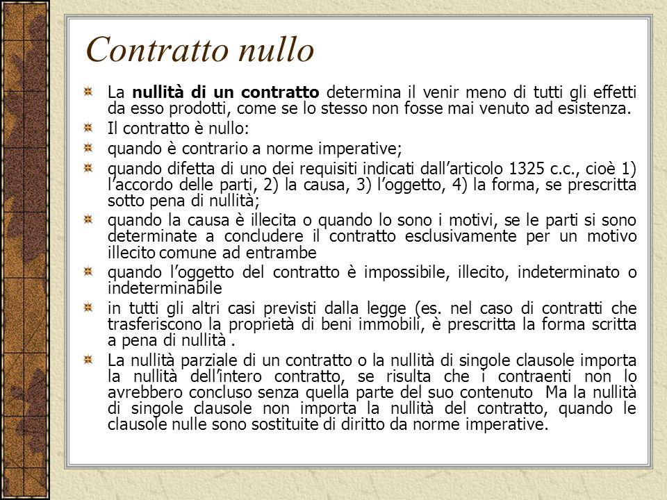 Contratto nullo La nullità di un contratto determina il venir meno di tutti gli effetti da esso prodotti, come se lo stesso non fosse mai venuto ad esistenza.