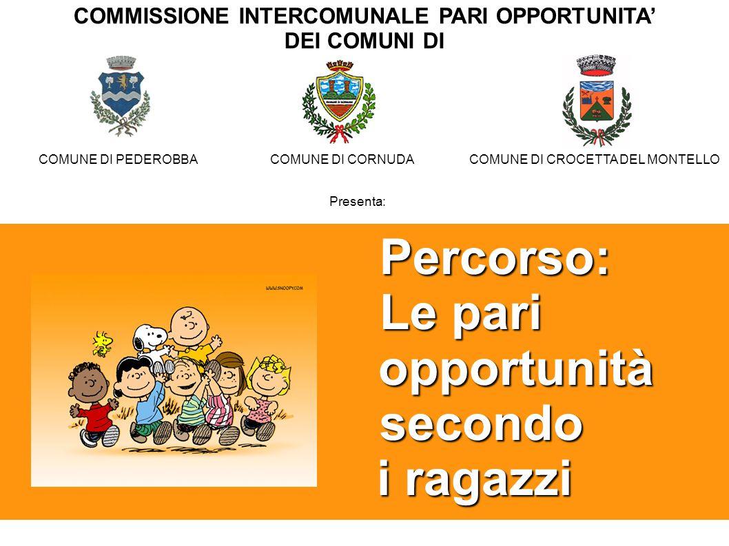 Percorso: Le pari Le pari opportunità opportunità secondo secondo i ragazzi i ragazzi COMUNE DI PEDEROBBACOMUNE DI CORNUDACOMUNE DI CROCETTA DEL MONTE