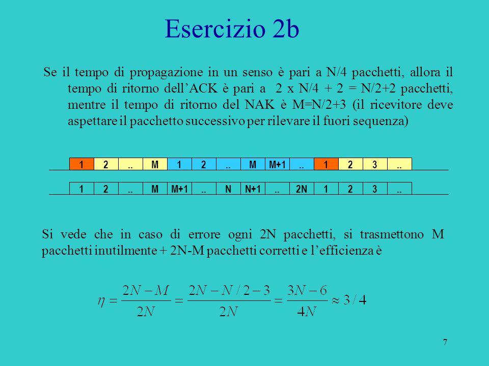 7 Esercizio 2b Se il tempo di propagazione in un senso è pari a N/4 pacchetti, allora il tempo di ritorno dellACK è pari a 2 x N/4 + 2 = N/2+2 pacchetti, mentre il tempo di ritorno del NAK è M=N/2+3 (il ricevitore deve aspettare il pacchetto successivo per rilevare il fuori sequenza) Si vede che in caso di errore ogni 2N pacchetti, si trasmettono M pacchetti inutilmente + 2N-M pacchetti corretti e lefficienza è 12..M12 MM+1123..