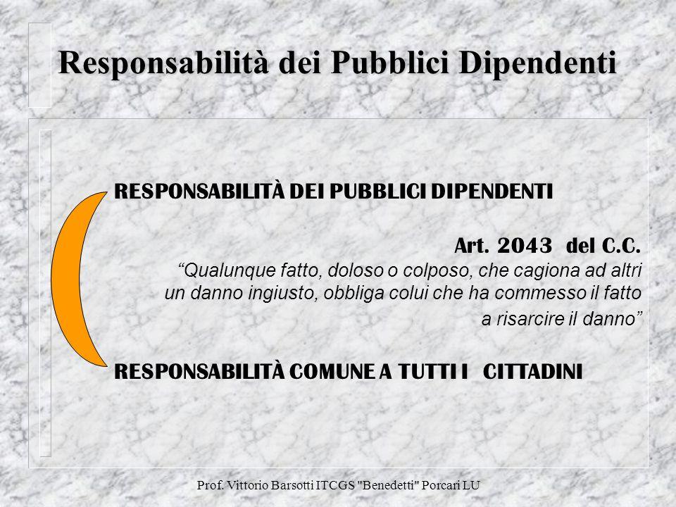 Prof.Vittorio Barsotti ITCGS Benedetti Porcari LU Pubblico Dipendente Le responsabilità del P.D.