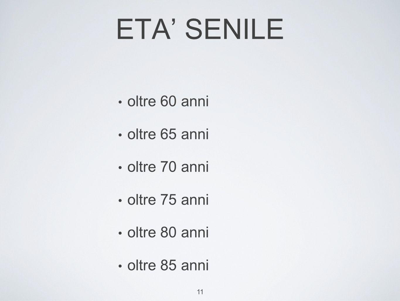 11 ETA SENILE oltre 60 anni oltre 65 anni oltre 70 anni oltre 75 anni oltre 80 anni oltre 85 anni