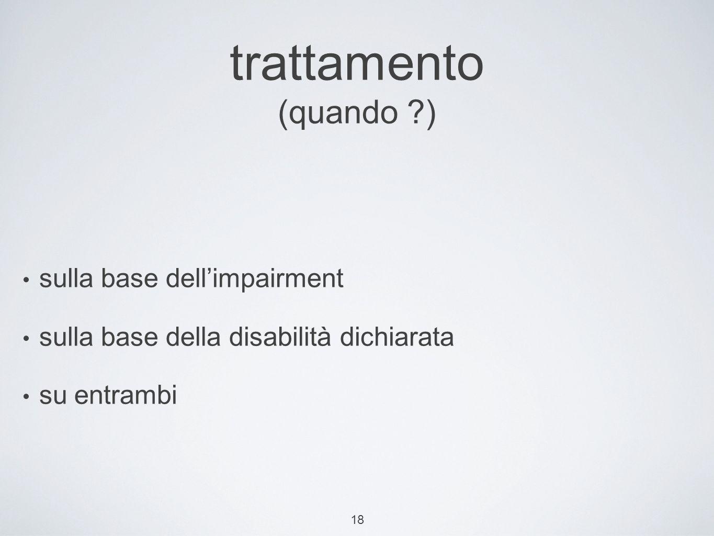 18 trattamento (quando ?) sulla base dellimpairment sulla base della disabilità dichiarata su entrambi