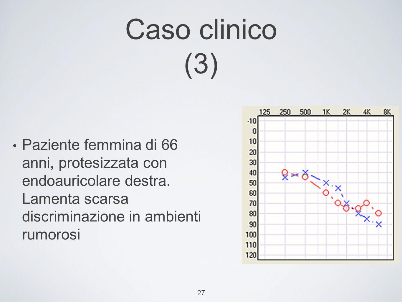27 Caso clinico (3) Paziente femmina di 66 anni, protesizzata con endoauricolare destra.