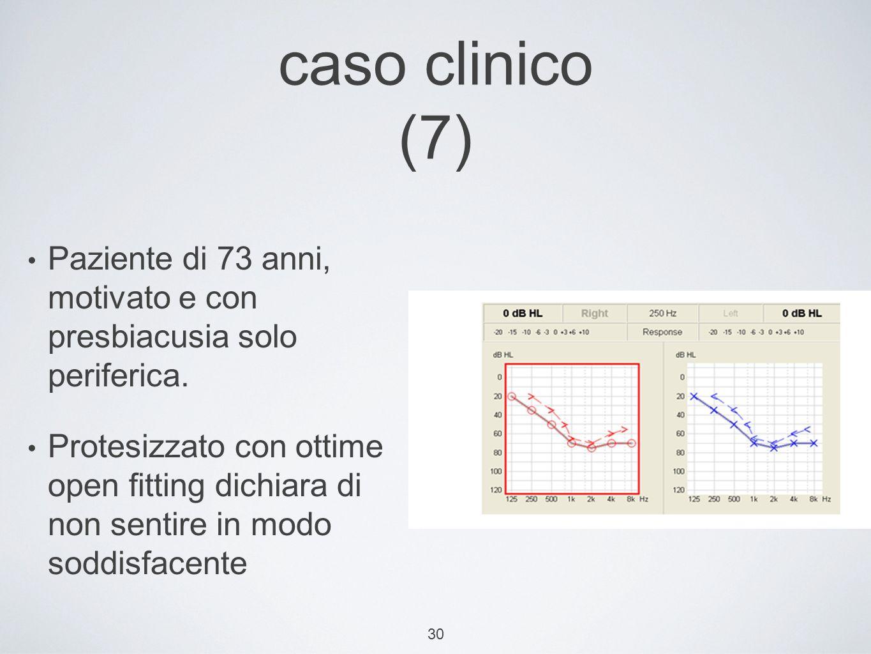 30 caso clinico (7) Paziente di 73 anni, motivato e con presbiacusia solo periferica.