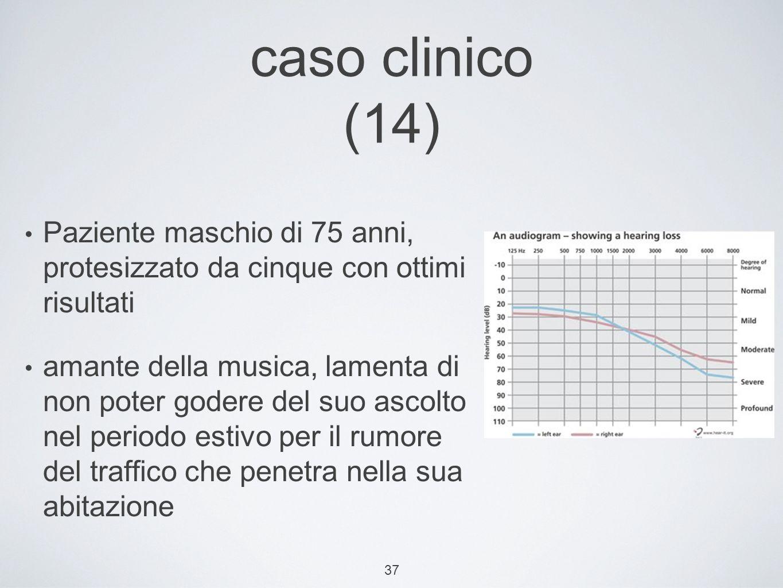37 caso clinico (14) Paziente maschio di 75 anni, protesizzato da cinque con ottimi risultati amante della musica, lamenta di non poter godere del suo ascolto nel periodo estivo per il rumore del traffico che penetra nella sua abitazione