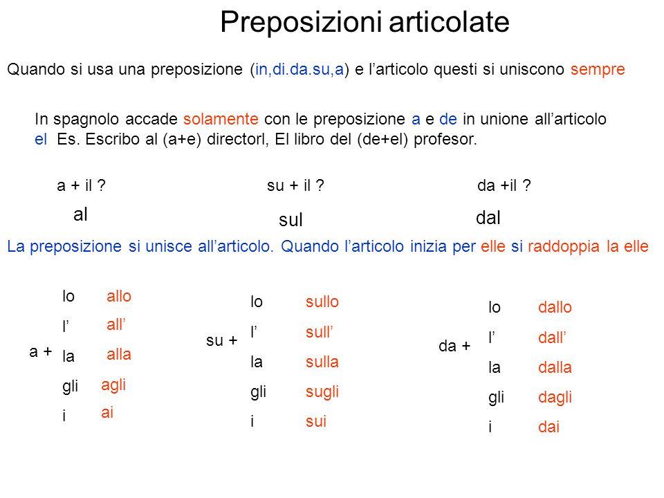 Preposizioni articolate Quando si usa una preposizione (in,di.da.su,a) e larticolo questi si uniscono sempre In spagnolo accade solamente con le preposizione a e de in unione allarticolo el Es.