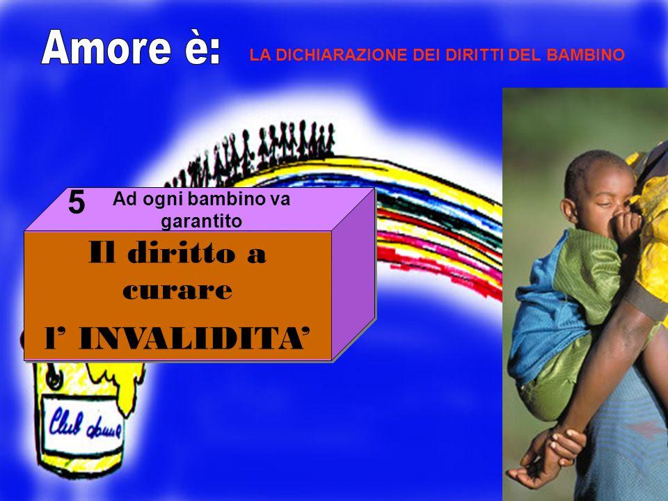 Il diritto a curare l INVALIDITA 5 LA DICHIARAZIONE DEI DIRITTI DEL BAMBINO Ad ogni bambino va garantito