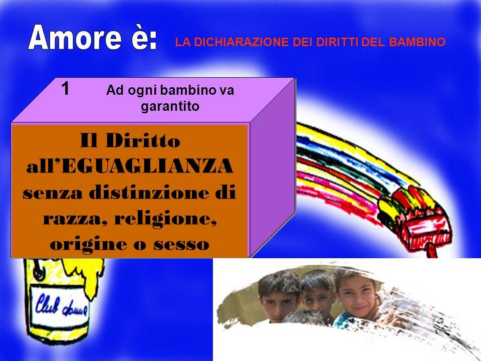 LA DICHIARAZIONE DEI DIRITTI DEL BAMBINO Il Diritto allEGUAGLIANZA senza distinzione di razza, religione, origine o sesso 1 Ad ogni bambino va garanti