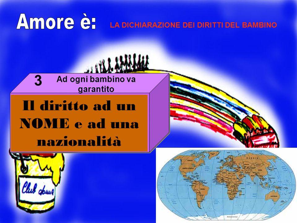 Il diritto ad un NOME e ad una nazionalità 3 LA DICHIARAZIONE DEI DIRITTI DEL BAMBINO Ad ogni bambino va garantito