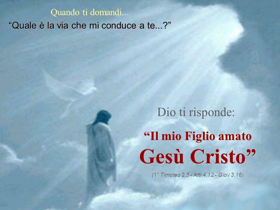 Quando ti domandi... Quale è la via che mi conduce a te...? Dio ti risponde: Il mio Figlio amato Gesù Cristo (1° Timoteo 2,5 - Atti 4,12 - Giov 3,16)