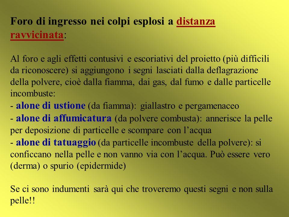 Foro di ingresso nei colpi esplosi a distanza ravvicinata: Al foro e agli effetti contusivi e escoriativi del proietto (più difficili da riconoscere)