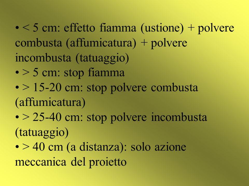 5 cm: stop fiamma > 15-20 cm: stop polvere combusta (affumicatura) > 25-40 cm: stop polvere incombusta (tatuaggio) > 40 cm (a distanza): solo azione m