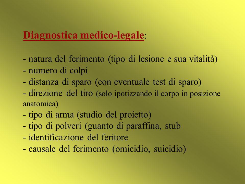 Diagnostica medico-legale : - natura del ferimento (tipo di lesione e sua vitalità) - numero di colpi - distanza di sparo (con eventuale test di sparo
