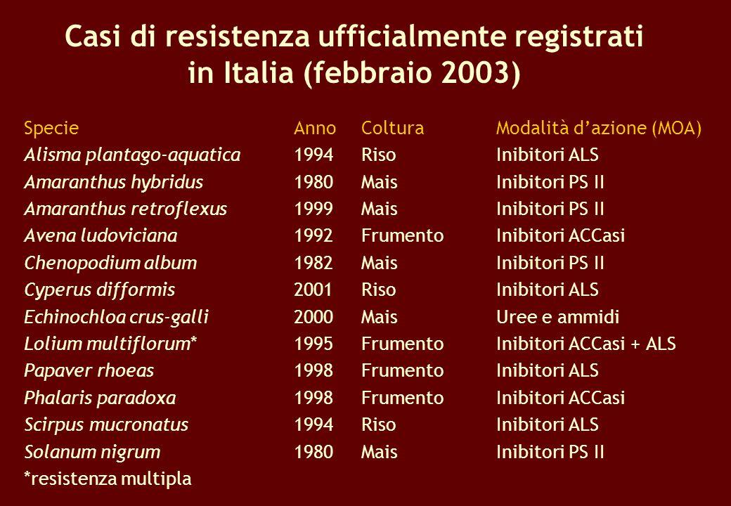 Casi di resistenza ufficialmente registrati in Italia (febbraio 2003) SpecieAnnoColtura Modalità dazione (MOA) Alisma plantago-aquatica1994Riso Inibit