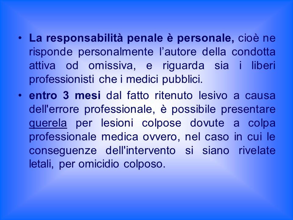 La responsabilità penale è personale, cioè ne risponde personalmente lautore della condotta attiva od omissiva, e riguarda sia i liberi professionisti