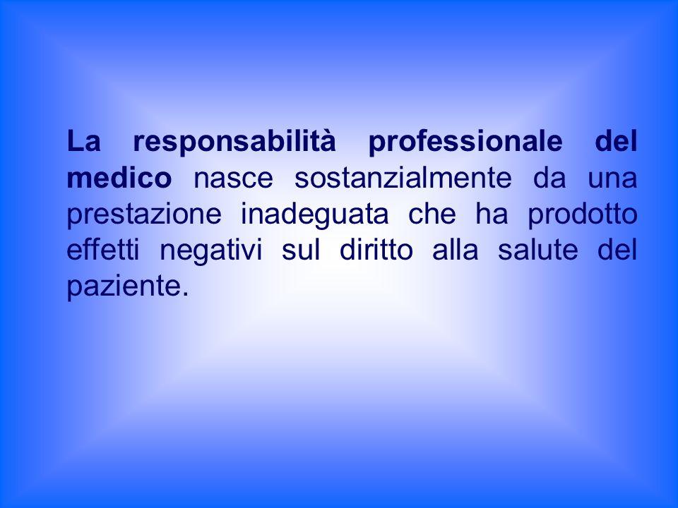 La responsabilità professionale del medico nasce sostanzialmente da una prestazione inadeguata che ha prodotto effetti negativi sul diritto alla salut