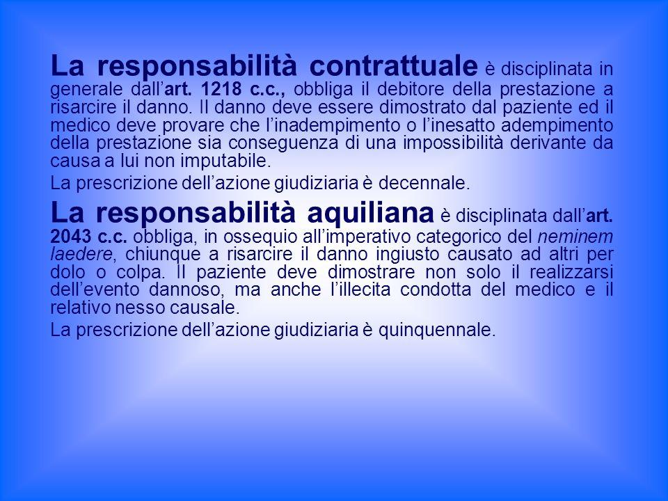 La responsabilità contrattuale è disciplinata in generale dallart. 1218 c.c., obbliga il debitore della prestazione a risarcire il danno. Il danno dev