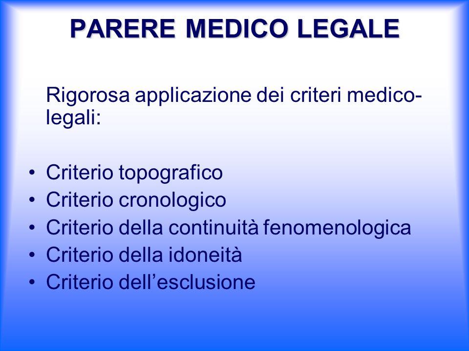Rigorosa applicazione dei criteri medico- legali: Criterio topografico Criterio cronologico Criterio della continuità fenomenologica Criterio della id
