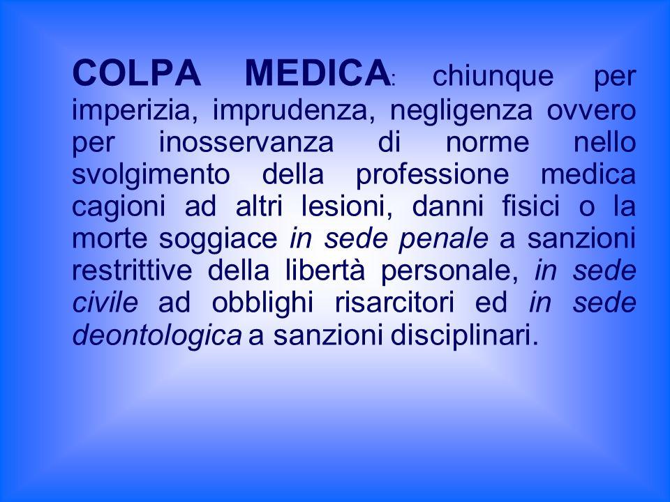 COLPA MEDICA : chiunque per imperizia, imprudenza, negligenza ovvero per inosservanza di norme nello svolgimento della professione medica cagioni ad a