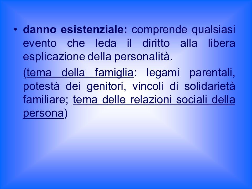 danno esistenziale: comprende qualsiasi evento che leda il diritto alla libera esplicazione della personalità. (tema della famiglia: legami parentali,